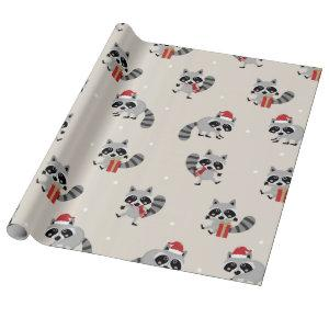 Cute Raccoon Christmas Pattern Wrapping Paper