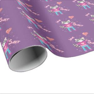 Cute raccoon kid Valentine's Day purple and pink Wrapping Paper