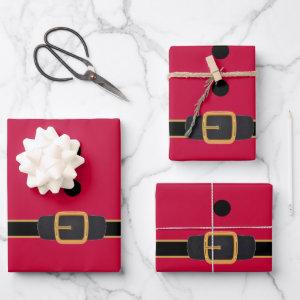 Cute Red And Black Santa Belt Christmas Gift Wrapping Paper Sheets