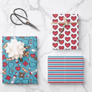 Cute Red Blue Nurse Doctor Medical Pattern Wrapping Paper Sheets