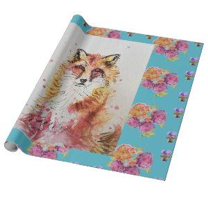 Cute Red Fox Watercolour Woodland Animal Art Wrapping Paper