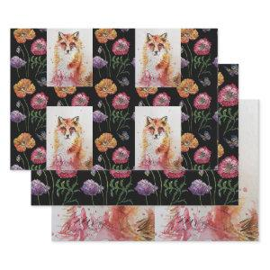 Cute Red Fox Watercolour Woodland Animal Art Wrapping Paper Sheets
