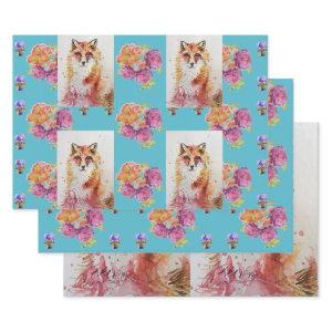 Cute Red Fox Watercolour Woodland Rose Animal Art Wrapping Paper Sheets