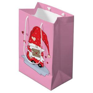 Cute Red Gnome with Letter Pink Gift Bag