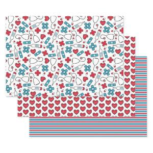 Cute Red White Blue Nurse Doctor Medical Patterns Wrapping Paper Sheets