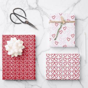 Cute Red White & Pink Hearts Valentine's Day Wrapping Paper Sheets