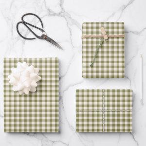 Cute Retro Olive Green Gingham Plaid Pattern  Sheets