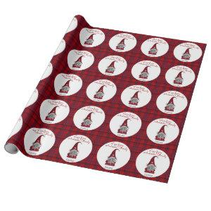 Cute Rustic Personalized Christmas Gnome Elf Wrapping Paper