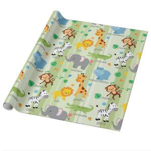 Cute Safari Animals Nursery Pattern Wrapping Paper