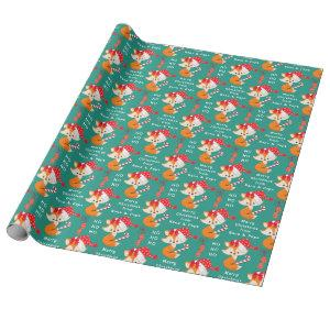 Cute Santa Fox Personalized Christmas Wrapping Paper