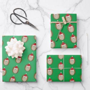 Cute Santa Hedgehog Wrapping Paper Sheets