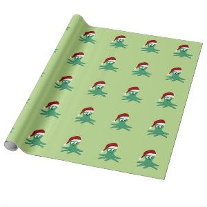 Cute Santa Octopus Wrapping Paper