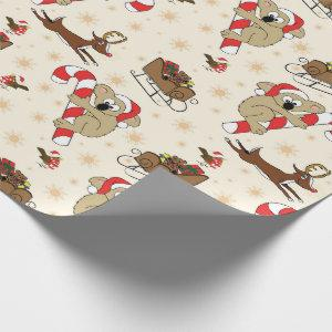 Cute Santa Sloth Happy Holidays Wrapping Paper
