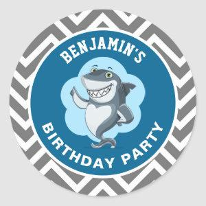 Cute Shark Birthday Party Favor Sticker