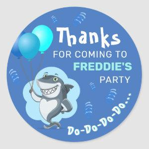 Cute Shark | Blue Balloons Birthday Classic Round Sticker
