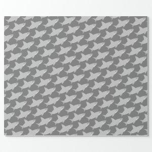 Cute Shark Gray Wrapping Paper