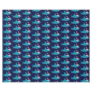 Cute Shark in Santa Hat Blue Holiday Christmas Wrapping Paper