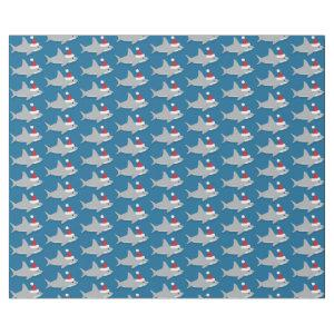 Cute Shark in Santa Hat Christmas Holiday Wrapping Paper
