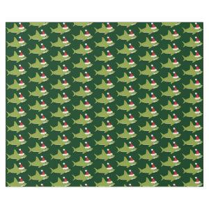 Cute Shark in Santa Hat Green Holiday Christmas Wrapping Paper