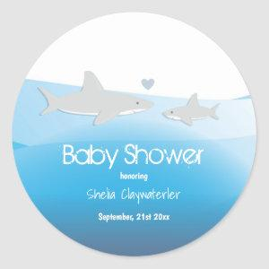 Cute Sharks and Ocean | Baby Shower Sticker