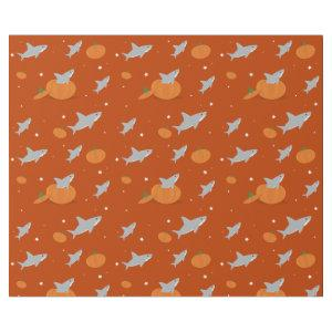 Cute Sharks Pumpkins Halloween Holiday Orange Wrapping Paper