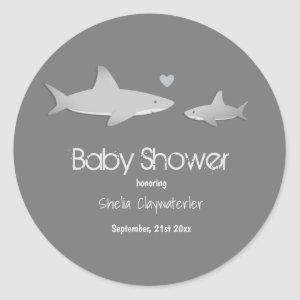 Cute Sharks Solid Gray Background | Baby Shower Classic Round Sticker