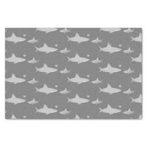 Cute Sharks Solid Gray Background | Baby Shower Tissue Paper