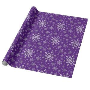 Cute Silver Gray Christmas Snowflakes on Purple Wrapping Paper