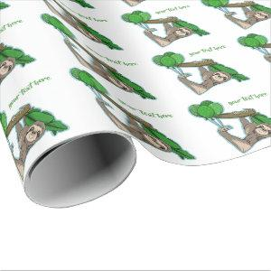 Cute sloth with birthday party balloons wrapping paper