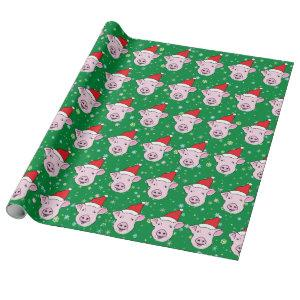 Cute Smiling Pig in Santa Hat Pattern Wrapping Paper