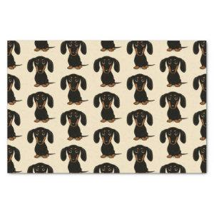 Cute Smooth Coated Black and Tan Dachshund Pattern Tissue Paper