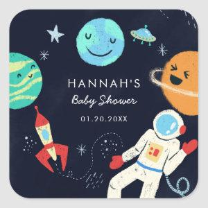 Cute Space Theme Boy Baby Shower Favor Square Sticker