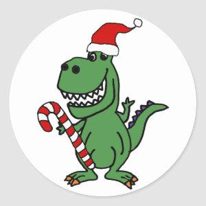 Cute T-rex Dinosaur in Santa Hat with Candy Cane Classic Round Sticker