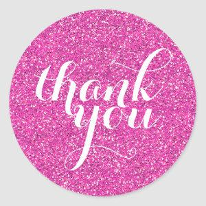 CUTE THANK YOU modern simple glitter hot pink Classic Round Sticker