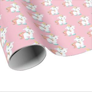 Cute tiled baby unicorn pattern party wrap wrapping paper