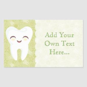 Cute Tooth - Green Custom Text Stickers
