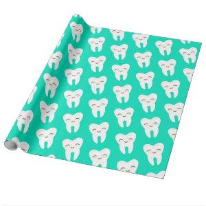 Cute Tooth Pattern on Teal Wrapping Paper