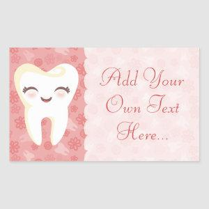 Cute Tooth - Pink Custom Text Stickers
