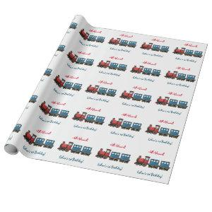 Cute Train Birthday Wrapping Paper