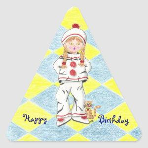 Cute triangle girl  birthday stickers