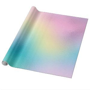 Cute unicorn rainbow foil holographic chic pastel wrapping paper