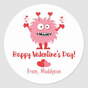 Cute Valentine's Day Pink Monster and Hearts Classic Round Sticker