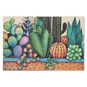 Cute Watercolor Cactus Garden In Pot Tissue Paper