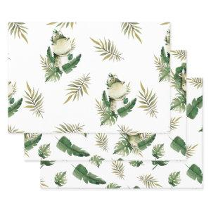 Cute Watercolor Dinosaurs Three Pack Wrapping Paper Sheets