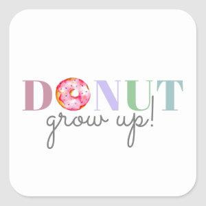 cute watercolor donut grow up birthday sprinkles square sticker