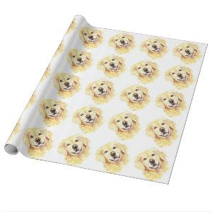 Cute Watercolor Golden Retriever Dog Pet Animal Wrapping Paper