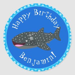 Cute whale shark happy cartoon illustration classic round sticker
