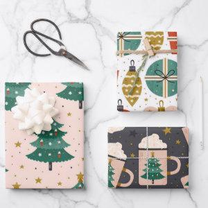 Cute Whimsical Vintage Scandinavian Christmas Pink Wrapping Paper Sheets