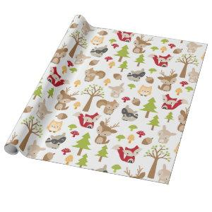 Cute Woodland Animals and Forest Pattern Wrapping Paper