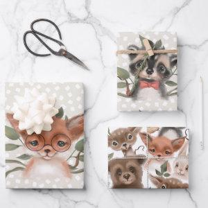 Cute Woodland Animals Children's Storybook Theme Wrapping Paper Sheets